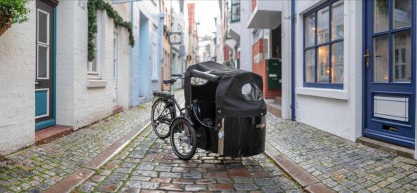 Zu sehen ist ein nihola Lastenrad. Geeignet für die ganze Familie! Das Lastenrad gibt es auch mit Elektromotor.
